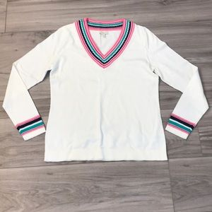 NWT Talbots | White Tennis Sweater with color
